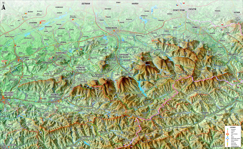 Beskydy Nastenna Plasticka Mapa 1 66 666 Kralovstvi Map